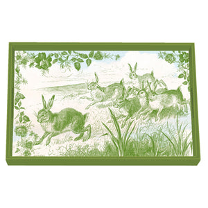 Bunny Toile Decoupage Wooden Vanity Tray