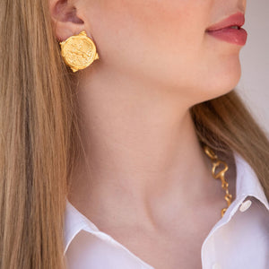 Gold Horse Intaglio Pierced Earrings
