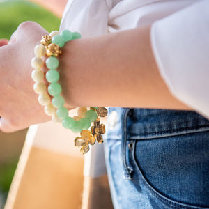 Gold Dogwood on Green Jade Bracelet