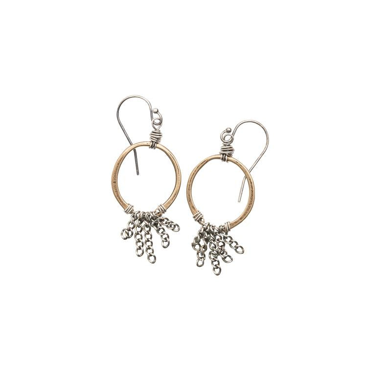 Mixed Metal Chain Horseshoe Earrings