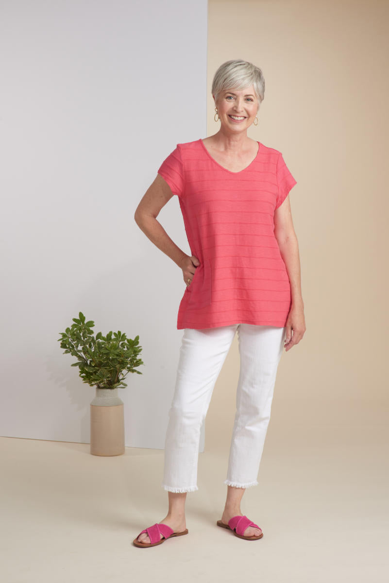 Cotton Tuck Pleat V Neck