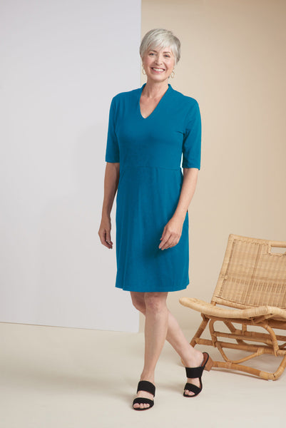 Modal Spandex V-Neck Pocket Dress