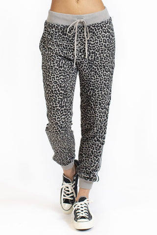 Animal Print Black Racing Stripe Jogger