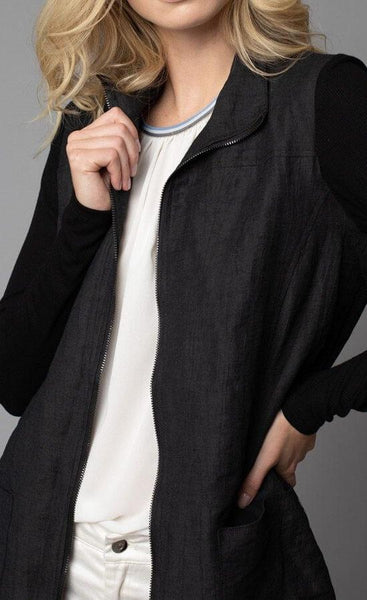 Crinkle Linen Zip-Front Long Jacket