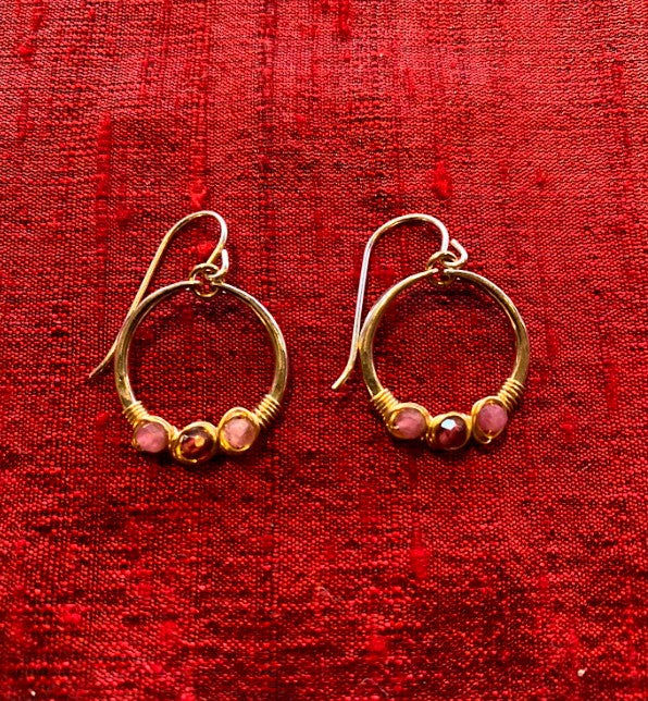 Pink Tourmaline & Garnet Gemstone Wrapped Small Hoop Earrings