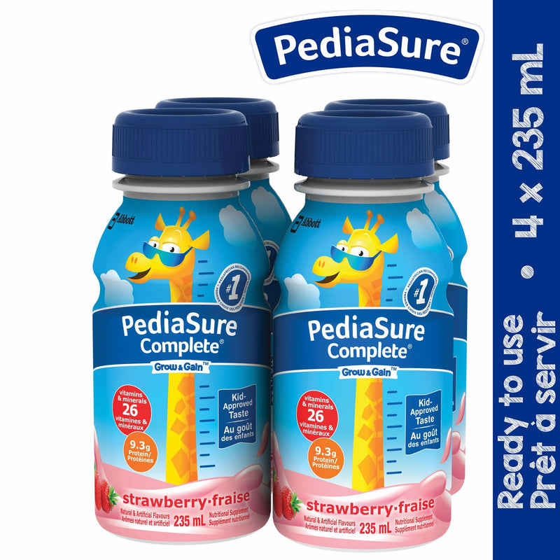 PediaSure Complete, nutritional supplement, 4 x 235 mL, Strawberry