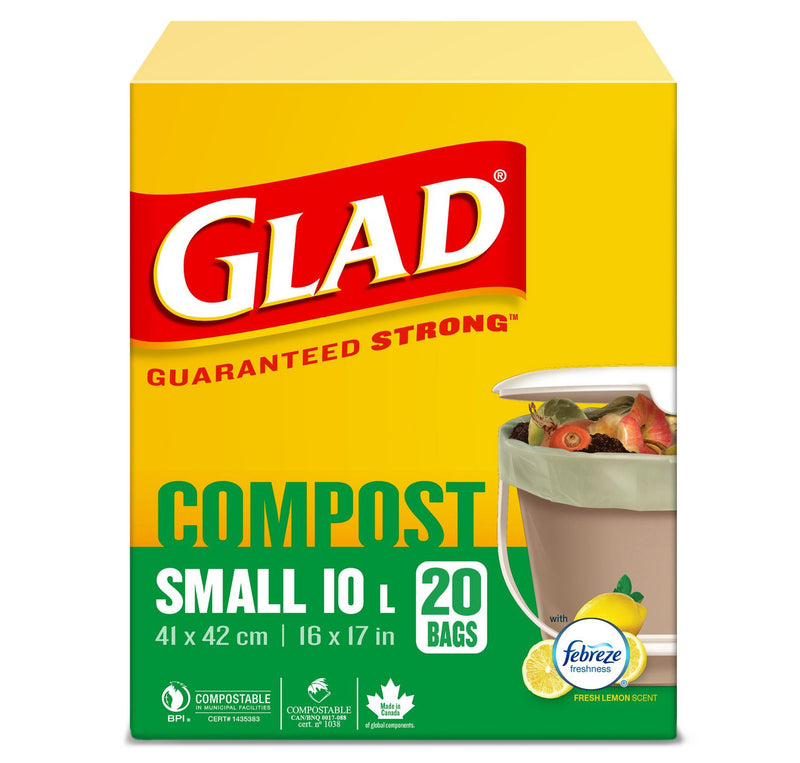 Glad 100% Compostable Bags - Small 10 Litres - Lemon Scent, 20 Compost Bags