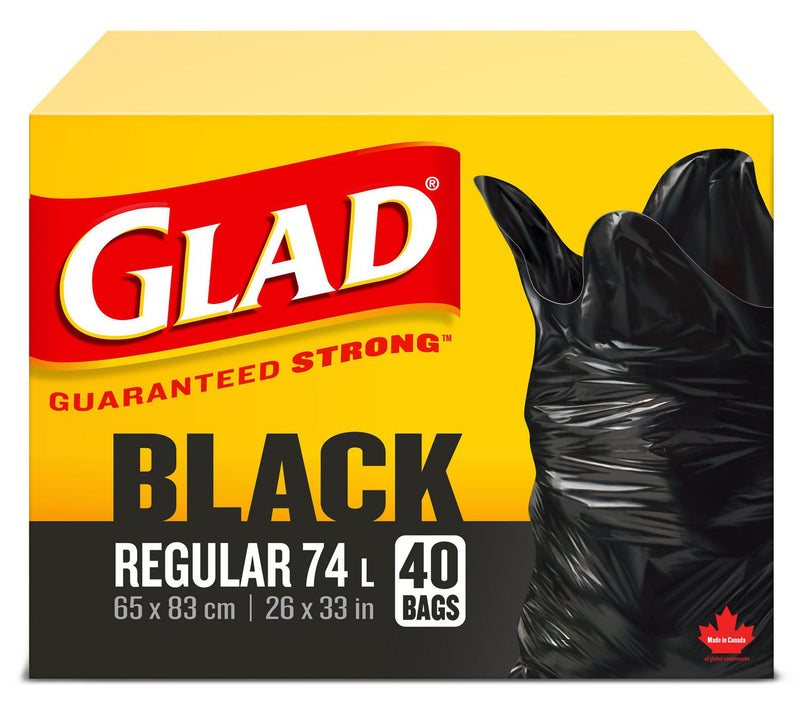 Glad Black Garbage Bags - Regular 74 Litres - 40 Trash Bags