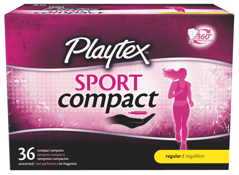 Sport Compact Athletic Tampons, Regular Absorbency, Pack of 36 Tampons