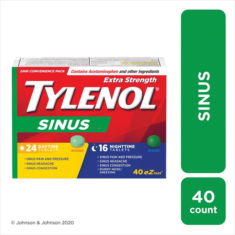 TYLENOL® Sinus Extra Strength eZ Tabs, Relieves Sinus congestion & other Sinus symptoms, Daytime & Nighttime, Convenience Pack, 40ct