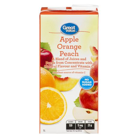 Great Value Apple Orange Peach Juice Blend 1L