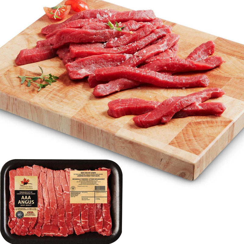 AAA Angus Beef Stir Fry Strips, Your Fresh Market 0.28 - 0.40 kg (21$/Kg)