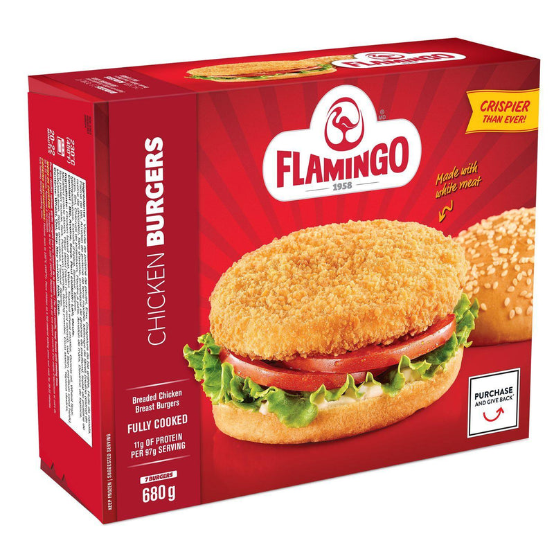 Chicken Breast Burgers Breaded and fully cooked, Flamingo