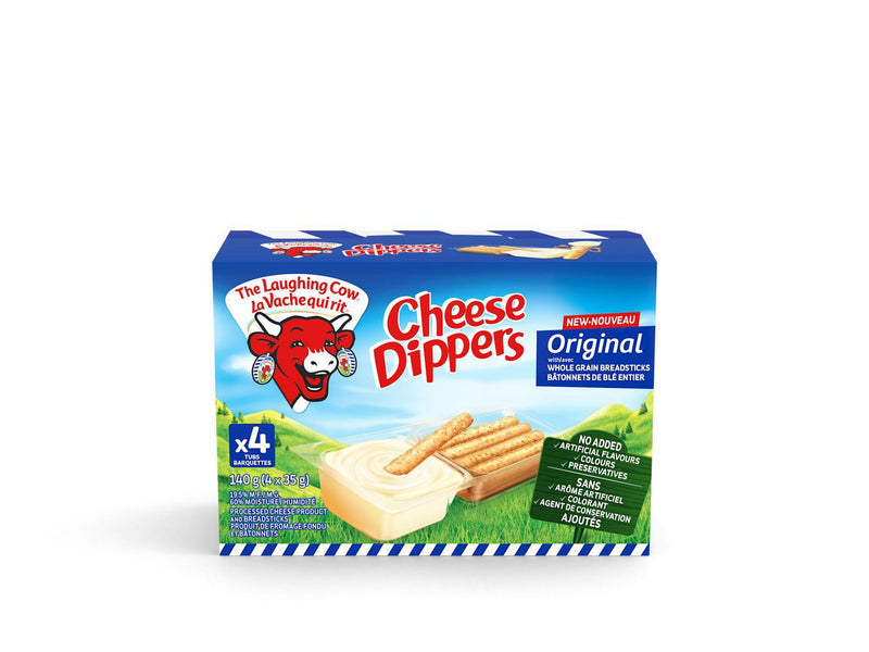 The Laughing Cow Cheese Dippers Original with wholegrain breadsticks x4 140g