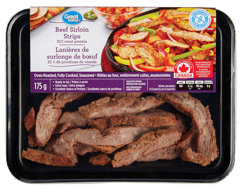 Great Value Beef Sirloin Strips Oven roasted, seasoned