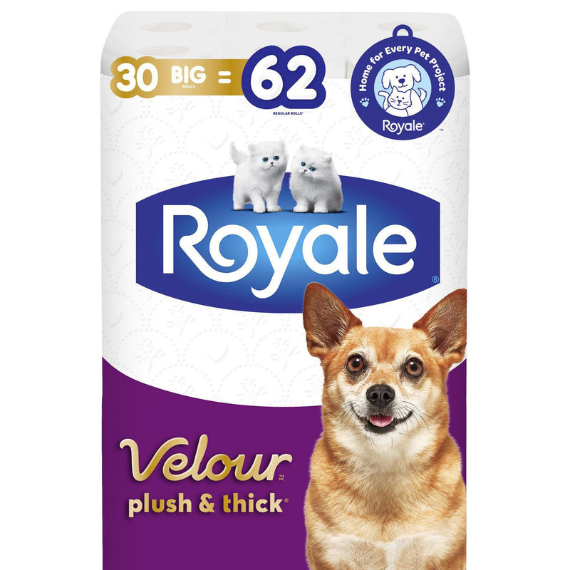 Royale Velour, Plush and Thick Toilet Paper, 30 Big equal 62 rolls