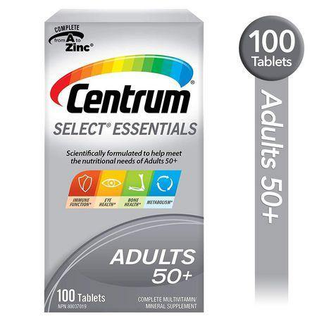 Centrum Select Essentials Adults 50+ Multivitamin and Multimineral Supplement Tablets, 100 Count