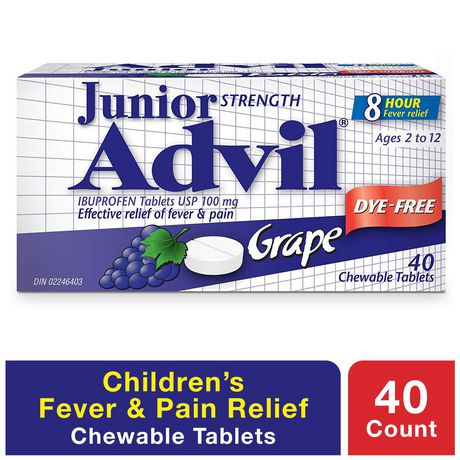 Junior Strength Advil Pain Reliever and Fever Reducer Ibuprofen Chewable Tablets, Grape, 40 Count
