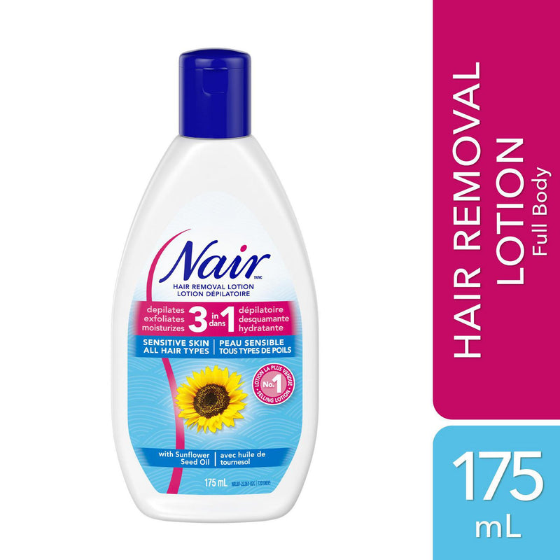 Nair 3-In-1 Hair Removal Lotion for Sensitive Skin with Sunflower Seed Oil and Green Tea Extract
