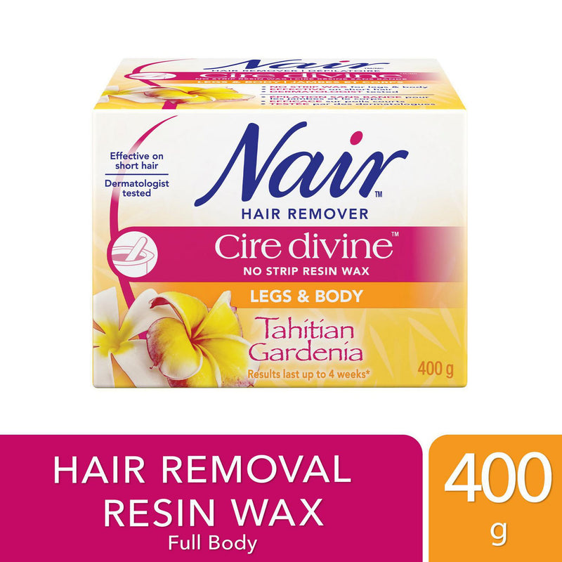 Nair Cire Divine No Strip Resin Wax for Legs & Body, Tahitian Gardenia