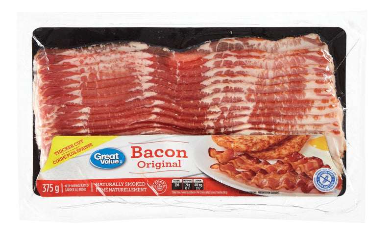 Great Value Naturally Smoked Bacon 375g