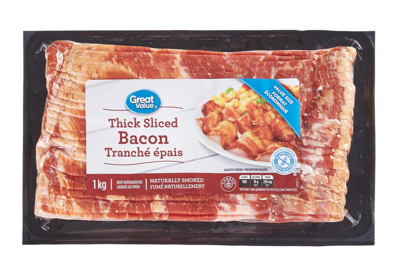 Great Value Extra Thick Cut Bacon 1Kg
