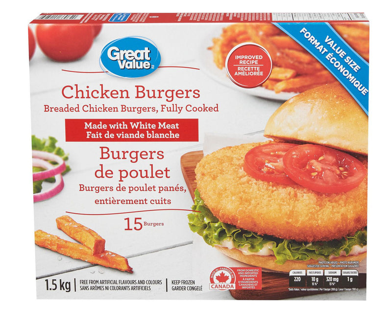 Great Value Breaded Chicken Burgers