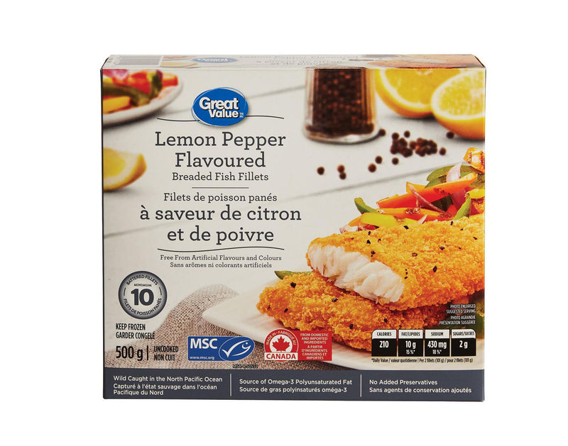Great Value Lemon Pepper Flavoured Breaded Fish Fillets
