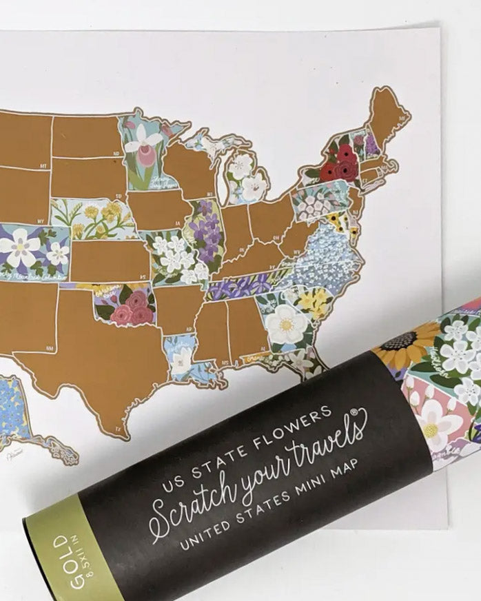 USA State Flowers Scratch Off Travel Map - 18x12
