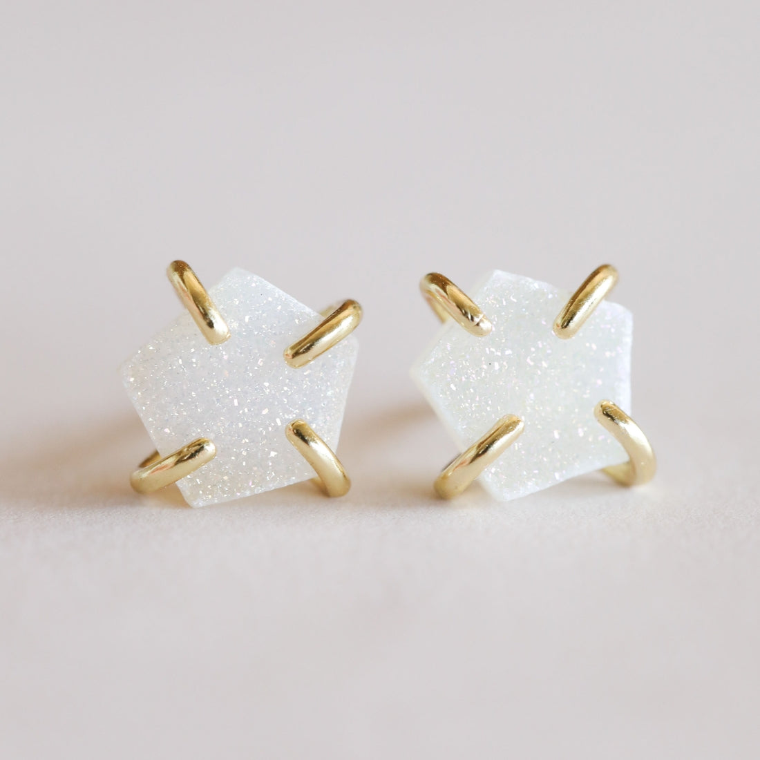 JaxKelly | White Druzy Prong Earring