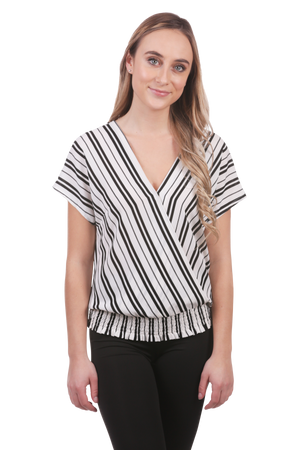 Neesha | Striped Surplice Top