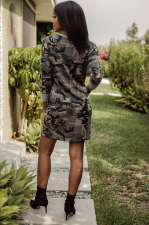 Veronica M | Camo Sweatshirt Dress