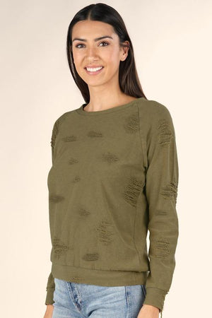 LOVESTITCH | Raglan Destroyed Sweatshirt