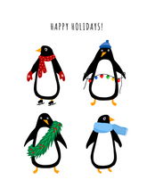 Load image into Gallery viewer, Pack of Penguins (5 Holiday Penguin Cards)