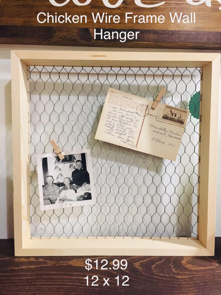 Chicken Wire Wood Frame Wall hanger - Local Pick Up Only