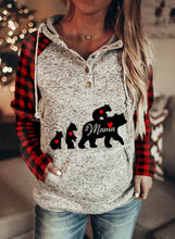 Load image into Gallery viewer, Americtops Gray Women's Hoodies MAMA Bear Printed Plaid Pocketed Sweatshirt