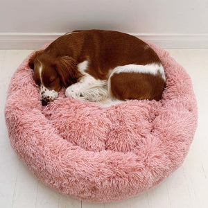 CALMING DOG BED WITH PET ANTI ANXIETY - Extra Quality, Padding, Fur & Comfort!