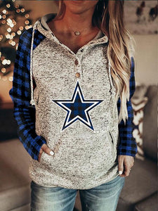 Fashion Printed Patchwork Star Hoodie