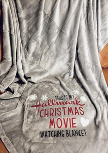 Americtops Gray Hallmark Christmas Movie Watching Velvet Warm Blanket