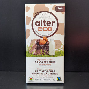 Alter Eco- Grass Fed Milk Chocolate- Salted Almond