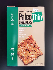 Julian Bakery- Paleo Thin Crackers- Salt & Pepper