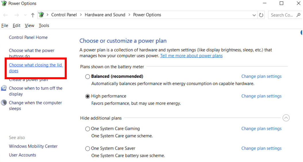 windows battery option menu