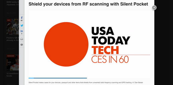 usa today silent pocket ces 2017 video of wallet blocking rfid signal