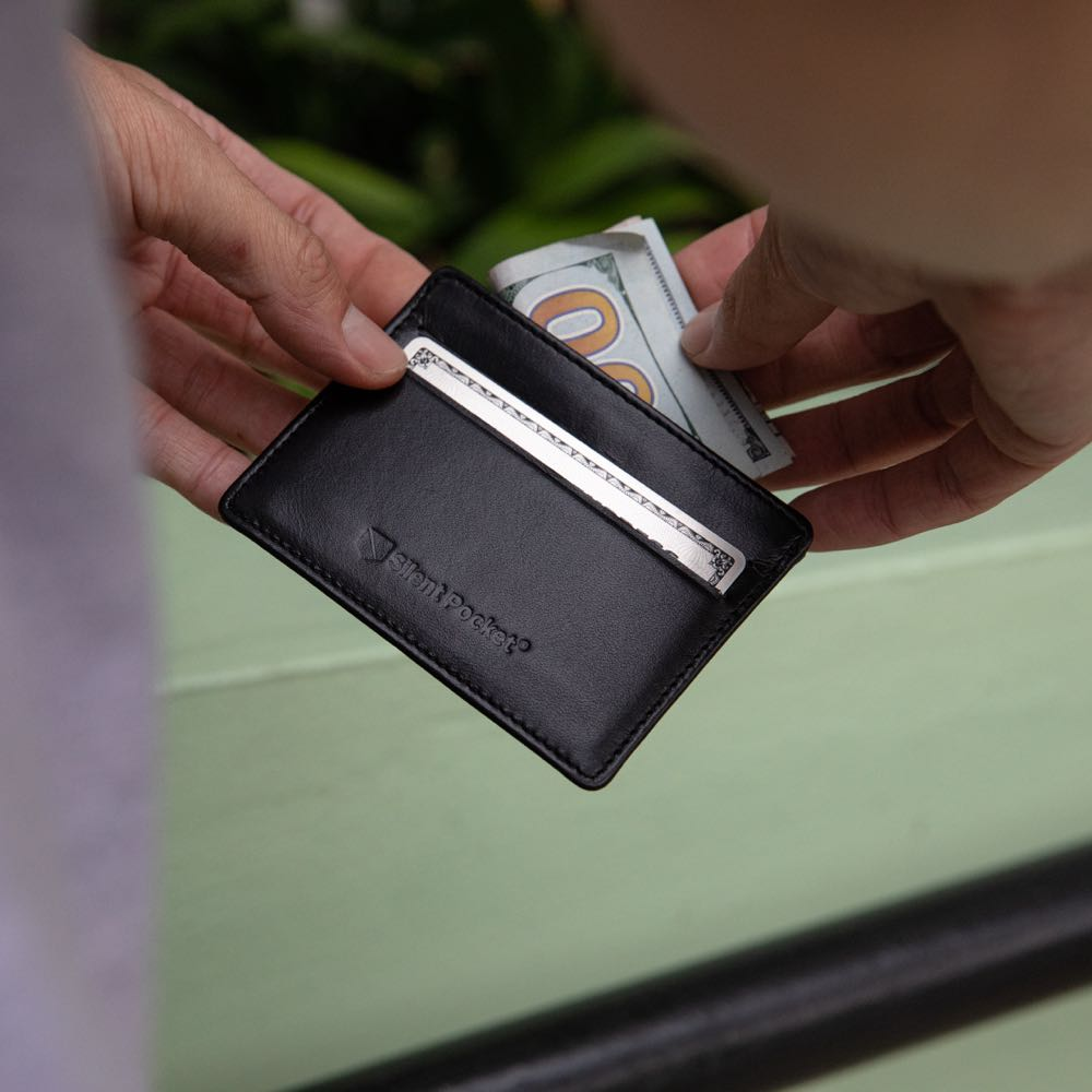 silent pocket rfid blocking simple card wallet with premium leather