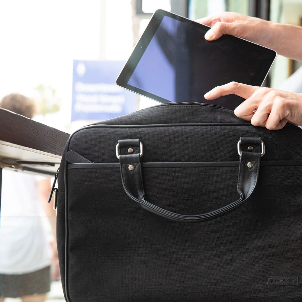 silent pocket signal blocking faraday briefcase with tablet