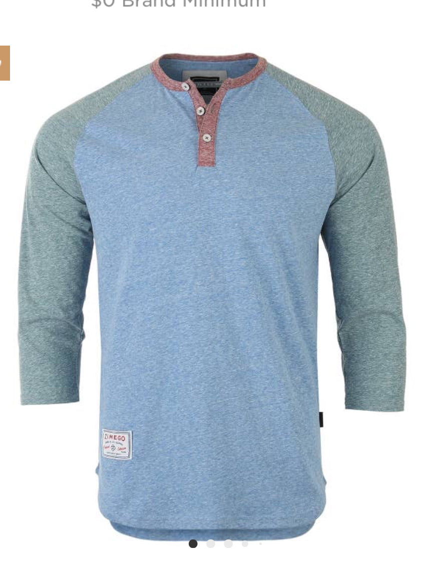 Men's Long  Sleeve Color Block Henley