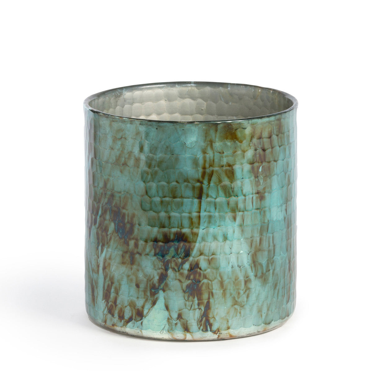Hammered Pattern Glass Hurricane, Teal
