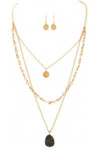 Gold Hi Lo Druzy Necklace Set