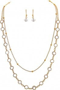 Gold Chain Crystal Layer Necklace