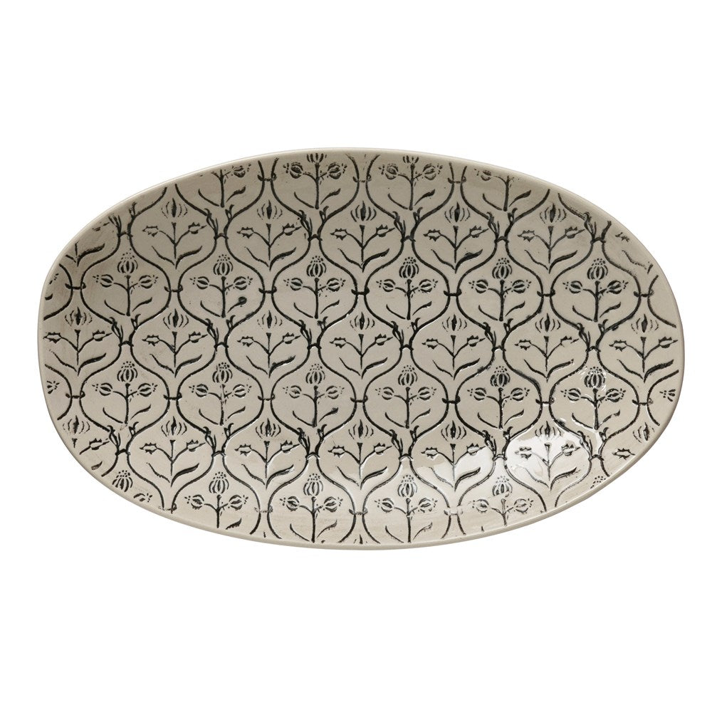Hand-Stamped Stoneware Platter w/ Embossed Pattern